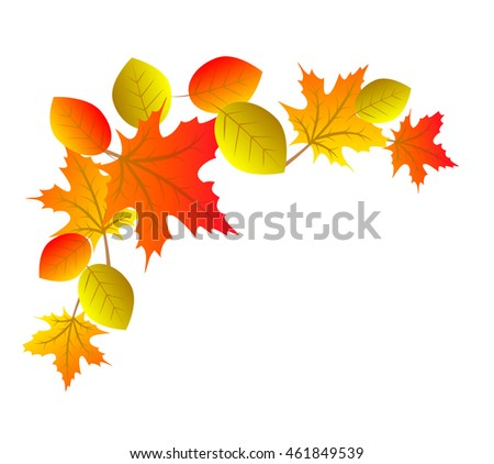 Autumn decorative element for corner with colorful leaves