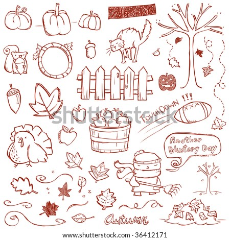 Autumn Doodles - stock vector