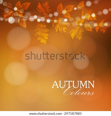 Autumn, fall background with maple and oak leaves and lights, vector illustration  - stock vector