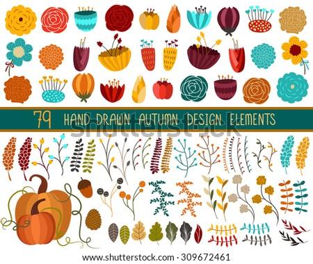 Autumn Fall Floral Set Vector - stock vector