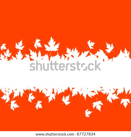 Autumn falling leaves background with blank border for seasonal design. Rasterized version also available in gallery