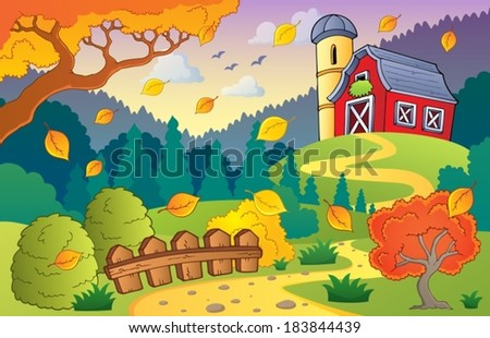 Autumn farm landscape 1 - eps10 vector illustration.