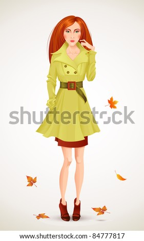 Autumn fashion woman - stock vector