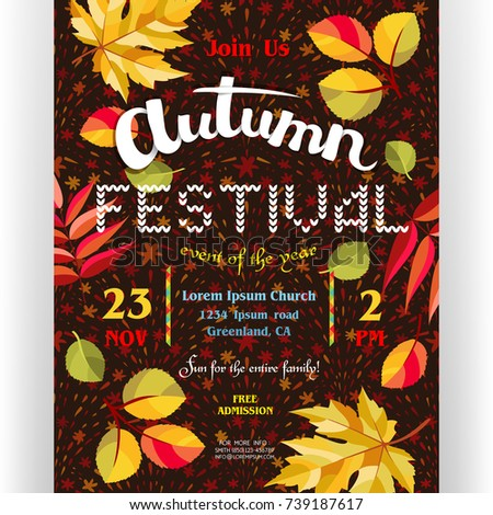 Autumn Festival Poster Template. Text Customized For Invitation For  Celebration. Different Letters, Colorful