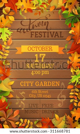 Autumn Festival template. Bright colorful autumn leaves on vertical wood background. You can place your text in the center. - stock vector