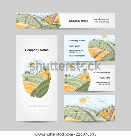 Autumn field sketch, business cards design - stock vector