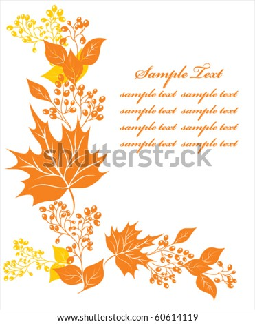 autumn floral background - stock vector