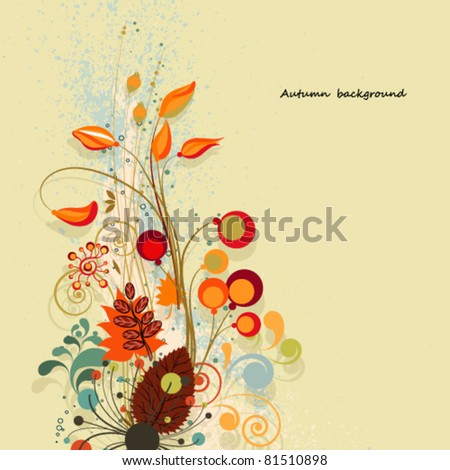 Autumn floral composition background. - stock vector