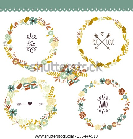Autumn Floral Frame Collection. Set of cute retro flowers arranged un a shape of the wreath perfect for wedding invitations and birthday cards  - stock vector