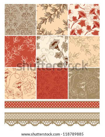 Autumn Floral Seamless Patterns and trims.