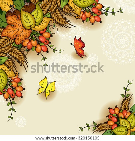 Autumn floral with space to insert your own text-transparency blending effects and gradient mesh-EPS 10 - stock vector
