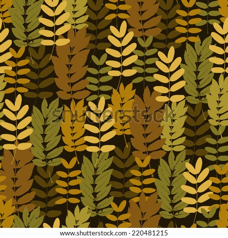 Autumn foliage seamless pattern, vector leaves background - stock vector