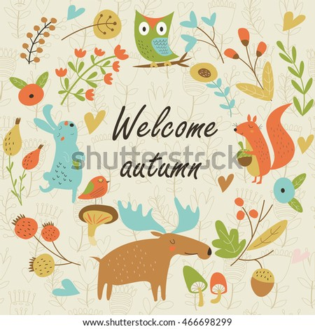 Autumn forest background with cute squirrel, hare, owl, elk, birds, mushrooms and flowers in cartoon style