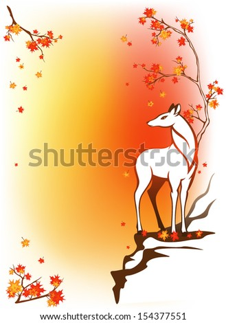 autumn forest background with deer standing among bright maple leaves - stock vector