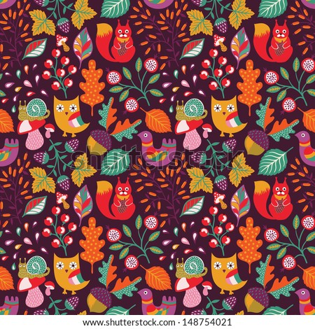 Autumn forest seamless pattern - stock vector