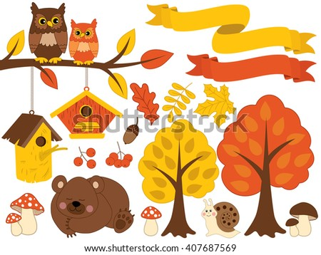 Autumn Forest Set - stock vector