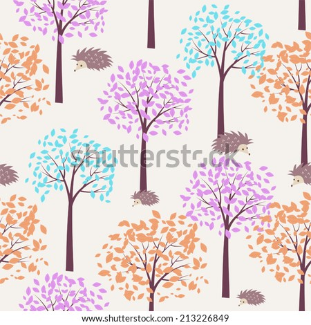 Autumn forest with cute hedgehohs (vector seamless pattern)