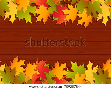 Autumn Frame Background. Design For Poster, Card Or Banner With Fall Maple  Leaves And