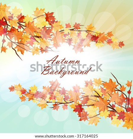 Autumn  Frame With Falling  Maple Leaves on Blue Sky Background. Elegant Design with Rays of Sun and Ideal Balanced Colors. Vector Illustration. - stock vector