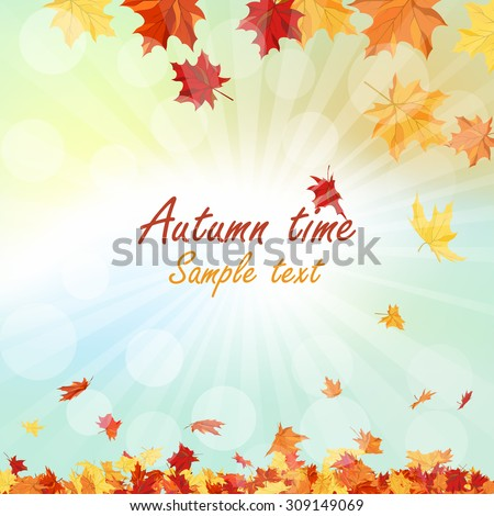 Autumn  Frame With Falling  Maple Leaves on Sky Background. Rays of Sun. Vector Illustration.