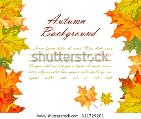 Autumn  Frame With Falling  Maple Leaves on White Background. Elegant Design with Text Space and Ideal Balanced Colors. Vector Illustration. - stock vector