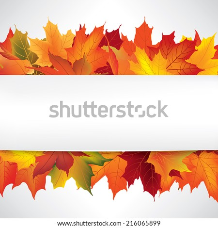Autumn frame with leaves. Fall background with copy space. - stock vector