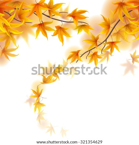 Autumn fronds with falling maple leaves on white background - stock vector