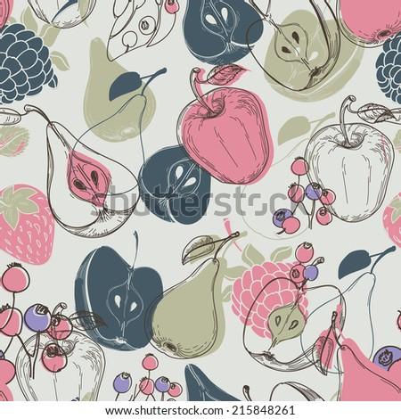 Autumn fruits seamless pattern - stock vector