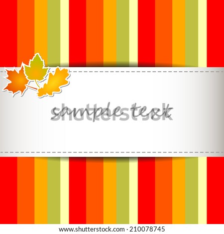 autumn full color background with stripes in autumnal colors - yellow, orange and green leaves and sewn strip in the middle - copy space - stock vector