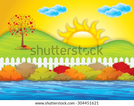 Autumn garden with bushes and fence.Vector - stock vector