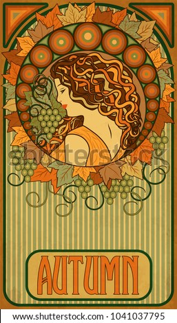 Autumn girl, floral banner in art nouveau style, vector illustration