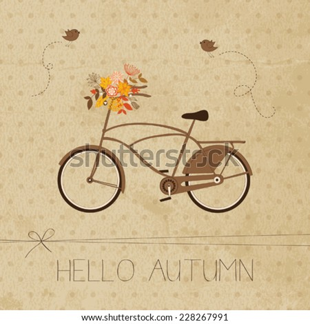 Autumn greeting card with bicycle  - stock vector