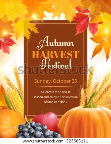 Autumn Harvest Festival poster design. Vector illustration.  - stock vector