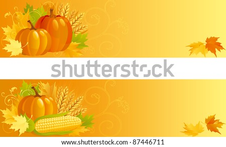 Autumn Harvest. Vector banners of vegetables and leaves  on yellow background. - stock vector