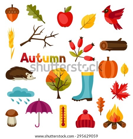 Autumn icon and objects set for design. - stock vector