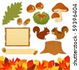 autumn icons - stock vector