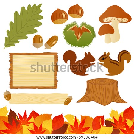 autumn icons - stock vector