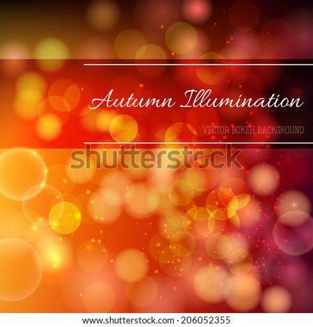 Autumn Illumination. Bright glowing background  - stock vector