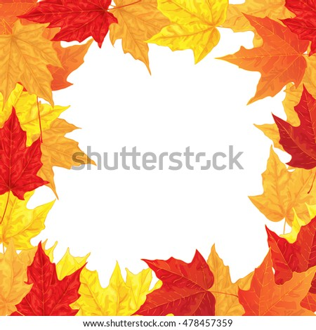 Autumn illustration. Frame made of maple leaves on white background.