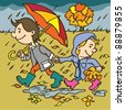 Autumn illustration.Hand drawing illustration of a two kids in autumn seasons. - stock photo