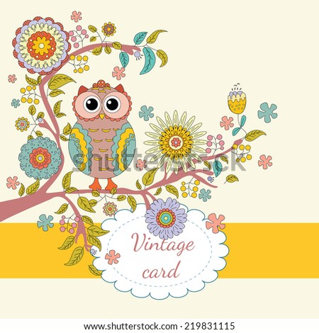 Autumn illustration with owl, branch and flowers in vector. Vintage card. Invitation card design with flower & bird. - stock vector