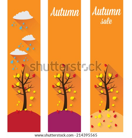 autumn landscape vector illustration can be used for banner and posters.