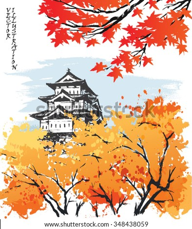 Autumn landscape view of the Matsumoto Castle, Japan. Hand-drawn sketch. Vector illustration.