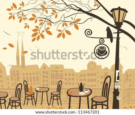 autumn landscape with a street cafe - stock vector