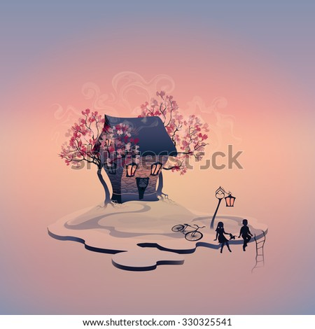 Autumn landscape with brick house on the island. Light in the windows. Abstract trees. Lantern near the road. Staircase to the abyss. Children with dog. Girl and boy. Evening scenery. Vector, EPS 10 - stock vector