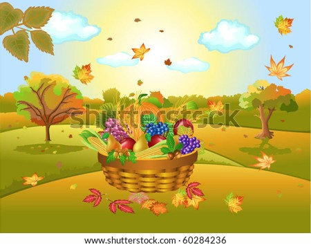 autumn landscape with harvest - stock vector