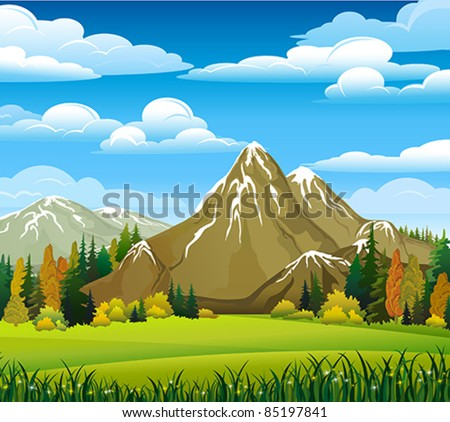 Autumn landscape with meadow, forest and mountains on a cloudy sky background - stock vector