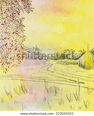Autumn landscape with road. Watercolor. Vector illustration. - stock vector