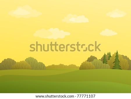 Autumn landscape with the yellow sky and forest with the various trees - stock vector
