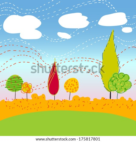 Autumn Landscape with trees clouds flowers and mountains - stock vector